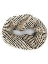 Rick Owens Ribbed Knit Scarf Neutrals