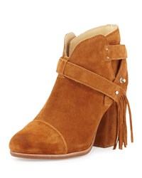 Rag And Bone Harrow Fringe Suede Ankle Boot Tan Women's