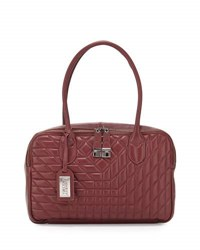 Badgley Mischka Coralie Leather Satchel Bag Burgundy