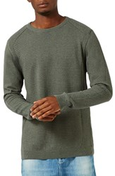 Topman Men's Slim Fit Ribbed Sweater Olive