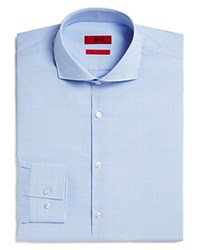 Hugo Jason Micro Gingham Tonal Overcheck Slim Fit Dress Shirt Light Blue
