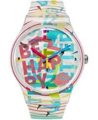 Swatch Unisex Swiss Street Energy Multicolor Silicone Strap Watch 41Mm Suoz196