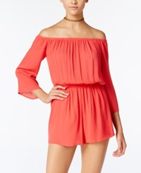 One Clothing Juniors' Off The Shoulder Romper Coral