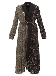 Junya Watanabe Floral Print Wool Blend And Crepe Coat Black Multi