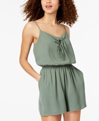 One Clothing Juniors' Lace Up Romper Dark Sage