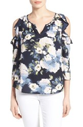 Gibson Women's Ruffled Cold Shoulder Blouse Navy Floral Print