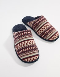 Totes Fairisle Knit Mule Slippers Navy