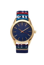 Forever 21 Southwestern Embroidered Strap Watch Blue Red