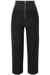 Carven Woman Cropped Ribbed Knit Cady Wide Leg Pants Black