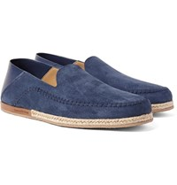 Ermenegildo Zegna Taormina Suede And Leather Espadrilles Storm Blue