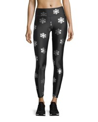 Terez Snowflake Foil Full Length Performance Leggings Black Pattern