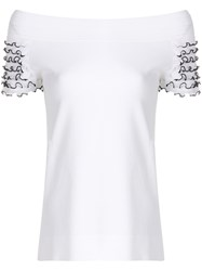 D.Exterior Frill Sleeves Off The Shoulder Top White