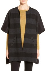 Eileen Fisher Women's Reversible Stripe Round Neck Felted Merino Wool Poncho