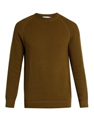 Sunspel Crew Neck Rack Stitched Cotton Sweater Green