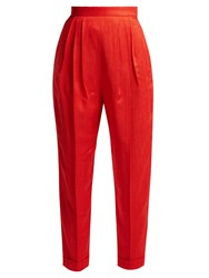 Delpozo High Rise Pleated Trousers Red