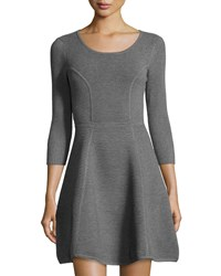 Milly Ribbed 3 4 Sleeve Fit And Flare Dress Heather Gr