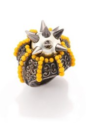 Gucci Beaded Spiked Faux Pearl Cocktail Ring Yellow