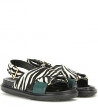 Marni Zebra Printed Calf Hair Sandals Black