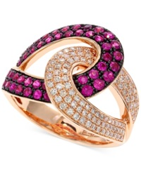 Effy Collection Amore By Effy Ruby 3 4 Ct. T.W. And Diamond 1 3 Ct. T.W. Loop Ring In 14K Rose Gold