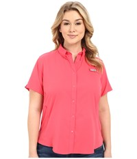 Columbia Plus Size Tamiami Ii S S Shirt Bright Geranium Women's Short Sleeve Button Up Red