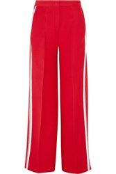 Fendi Striped Wool And Silk Blend Wide Leg Pants Red