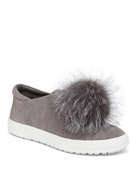 Delman Slip On Fur Sneakers Grey