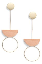 Leith Metal And Wood Drop Earrings Gold Pink
