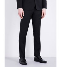 Sandro Slim Fit Tapered Wool Blend Trousers Black