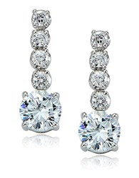 Lord And Taylor Sterling Silver Cubic Zirconia Drop Earrings