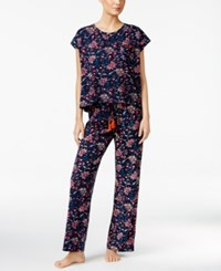 Lucky Brand Printed Knit Pajama Set Navy Floral