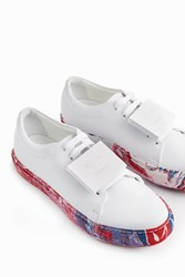 Acne Studios Women S Adrianna Oil Marble Effect Trainers Boutique1 White