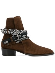 Amiri Double Buckle Western Boots Brown