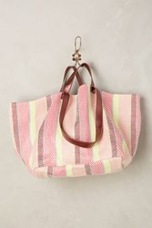 Anthropologie Summer Stripes Tote Rose