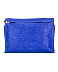 Loewe Large Leather Logo Pouch Blue Royal Blue