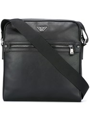 Emporio Armani Zipped Square Messenger Bag Black
