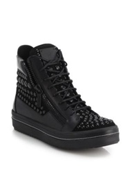 Giuseppe Zanotti Studded Leather High Top Sneakers Black