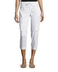 Eileen Fisher Drawstring Cropped Cargo Pants White Women's
