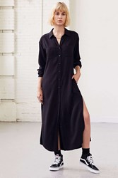 Silence And Noise Side Slit Maxi Shirt Dress Black