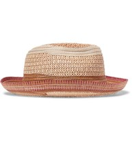 Etro Contrast Trimmed Straw Panama Hat Brown