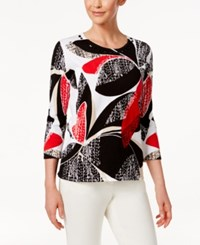 Alfred Dunner Petite Embellished Cotton Printed Sweater Multi