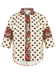 Red Valentino Paisley Floral Print Cotton Shirt Red Multi