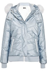 Topshop Sno Queen B Faux Fur Trimmed Quilted Ski Jacket Sky Blue