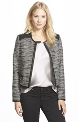 Adrianna Papell Faux Leather Trim Metallic Tweed Jacket Black Ivory