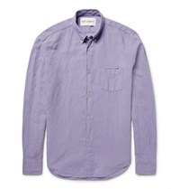 Our Legacy 1950S Slim Fit Button Down Collar Linen And Cotton Blend Shirt Purple