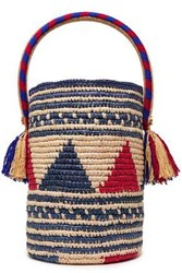 Yosuzi Woman Sonora Tasseled Woven Straw Bucket Bag Royal Blue