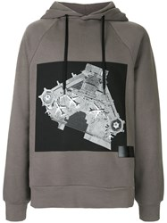 Public School Printed Hooded Sweatshirt Cotton M Grey