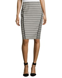 Lafayette 148 New York Grid Pattern Pencil Skirt Black Multi