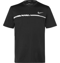 Nike Tennis Court Dry Challenger Printed Dri Fit Mesh T Shirt Black