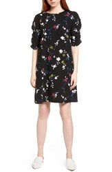 Halogen Ruched Sleeve Crepe Dress Black Blue Floral
