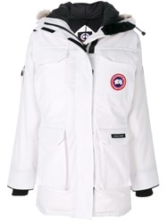Canada Goose Expedition Coat Women Cotton Feather Down Nylon Coyote Fur M White